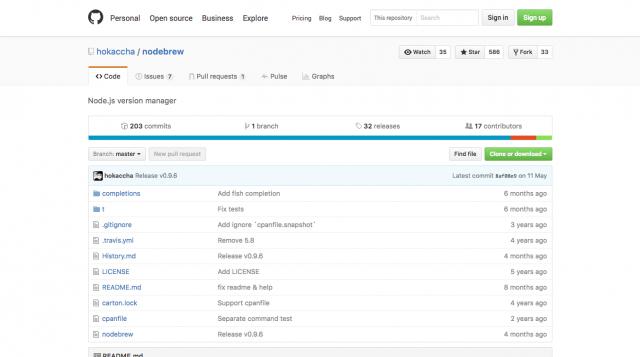 GitHub   hokaccha nodebrew  Node.js version manager